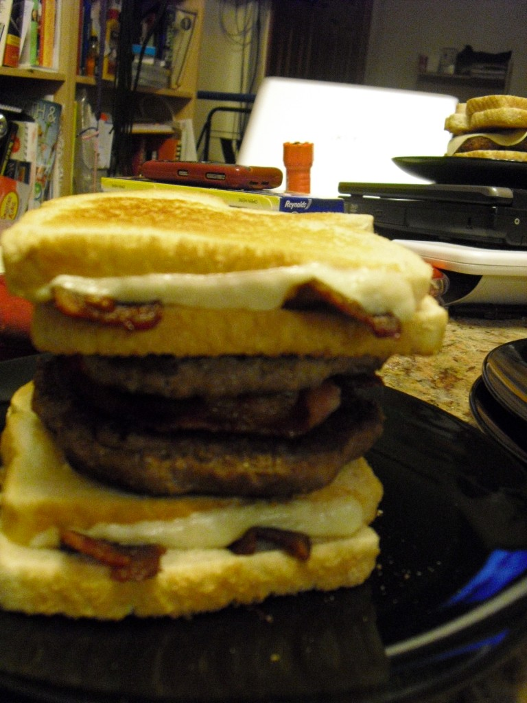 Double Decker Bacon Grilled Cheese Bacon Burger